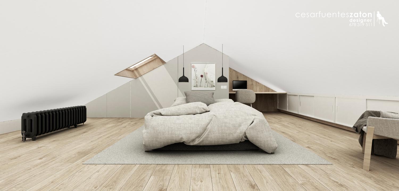 diseño interiores buhardilla. Dormitorio. César Fuentes Zatón.